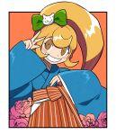 1girl bangs blonde_hair blue_kimono blush_stickers border bow cat_hair_ornament clothing_request commentary_request danganronpa_(series) danganronpa_10th_anniversary_costume danganronpa_2:_goodbye_despair flower furukawa_(yomawari) green_bow grin hair_bow hair_ornament hands_up highres japanese_clothes kimono long_hair long_sleeves looking_at_viewer official_alternate_costume orange_background orange_eyes outside_border rose saionji_hiyoko shiny shiny_hair smile solo v white_border wide_sleeves