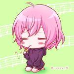 1girl blush chibi closed_eyes dango eating food green_background hood hoodie long_sleeves looking_at_viewer musical_note niconico nqrse pink_hair rummy_73 short_hair smile solo utaite_(singer) wagashi