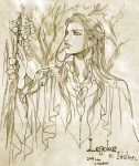1boy braid dated green_theme hand_up ivy kazuki-mendou legolas long_hair lord_of_the_rings male_focus monochrome one-hour_drawing_challenge parted_lips robe signature solo traditional_media