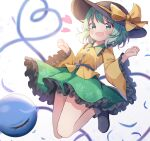 1girl :d absurdres bangs black_footwear black_headwear blurry blurry_background boots bow eyebrows_visible_through_hair floral_print frilled_skirt frilled_sleeves frills green_eyes green_hair green_skirt hanen_(borry) hat hat_bow heart heart_of_string highres koishi_day komeiji_koishi legs_up long_sleeves looking_at_viewer open_mouth rose_print shirt short_hair simple_background skirt smile solo third_eye touhou white_background wide_sleeves yellow_bow yellow_shirt