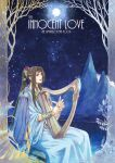 1boy bracer brown_hair circlet finwe from_side harp highres instrument kazuki-mendou lake long_hair male_focus mountain music night night_sky open_mouth playing_instrument pointy_ears ponytail robe silmarillion sitting sky solo star_(sky) starry_sky very_long_hair violet_eyes