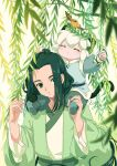 2boys absurdres animal_ears animal_on_head bird bird_on_head black_hair blue_eyes blush carrying cat_boy cat_ears cat_tail closed_eyes green_theme highres kisumi_rei leaf long_hair long_sleeves luoxiaohei multiple_boys on_head plant short_hair shoulder_carry signature tail the_legend_of_luo_xiaohei upper_body white_hair wuxian_(the_legend_of_luoxiaohei)