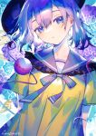 1girl :o abstract_background arms_behind_back blouse blue_eyes blue_hair breasts dithering eyeball frills hat head_tilt highres hinasumire koishi_day komeiji_koishi light_blush open_mouth short_hair short_sleeves small_breasts solo third_eye touhou upper_body yellow_blouse