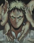 1boy black_eyes black_hair blonde_hair colored_tips commentary disembodied_limb dorohedoro english_commentary face facial_mark fingernails florbetriz hand_in_hair hands highres looking_at_viewer male_focus multicolored_hair portrait risu_(dorohedoro) sanpaku short_hair straight-on two-tone_hair