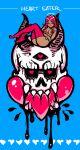 1girl akairiot blue_background dark_skin dark_skinned_female english_text hair_over_breasts heart heart_halo highres jpeg_artifacts knees_up long_hair looking_at_viewer nude original polka_dot polka_dot_legwear red_legwear redhead sharp_teeth simple_background skull smile solo teeth thigh-highs