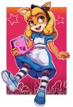 1girl absurdres alice_(wonderland) alice_(wonderland)_(cosplay) alice_in_wonderland alternate_costume alternate_hairstyle animal_ears animal_nose apron black_hairband blonde_hair blue_dress blue_footwear body_fur border bow coco_bandicoot collared_dress commentary computer cosplay crash_bandicoot dress eyeshadow flat_chest frilled_sleeves frills full_body furry gradient gradient_background grass green_eyes hair_bow hairband happy heart highres holding holding_laptop laptop long_hair looking_to_the_side makeup mushroom open_mouth orange_fur outline outside_border pantyhose pink_eyeshadow puffy_short_sleeves puffy_sleeves red_background red_lips shiny shiny_clothes shiny_hair shoes short_sleeves sidelocks smile sneakers solo standing star_(symbol) sticker striped striped_legwear teeth toasty_scones two-tone_fur white_apron white_border white_fur white_outline