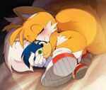 1boy animal_ears animal_nose cub dagashi_(daga2626) doll fox_ears fox_tail furry gloves male_focus red_footwear shoes sleeping sonic_(series) tail tails_(sonic)