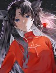 1girl bangs black_background black_hair black_ribbon blue_eyes commentary_request fate/stay_night fate_(series) hair_ribbon highres jewelry long_hair looking_at_viewer necklace parted_bangs parted_lips ribbon shimatori_(sanyyyy) shiny shiny_hair solo tohsaka_rin two_side_up upper_body