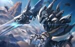 aircraft airplane arm_blade blue_sky clouds commentary cowboy_shot dutch_angle energy hose mecha military military_vehicle mountain original outdoors outstretched_arm reaching scenery science_fiction sky soraizumi sword weapon