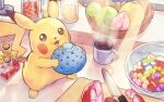 :3 :d berry_(pokemon) bottle bowl coffee_mug commentary crimson_(cxrss377) cup cutting_board food fruit fruit_basket fruit_bowl full_body gen_1_pokemon grepa_berry happy holding holding_food holding_fruit indoors kitchen knife light_rays looking_to_the_side mug no_humans open_mouth oran_berry pecha_berry pikachu pokemon pokemon_(creature) shadow smile solo standing sunbeam sunlight wepear_berry