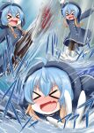 >_< :d ahoge bangs blue_coat blue_hair blush boots closed_eyes coat eyebrows_visible_through_hair fang gloves hood hood_up jumping kantai_collection laughing multicolored_hair open_mouth ouno_(nounai_disintegration) playing puddle rain raincoat rubber_boots sado_(kancolle) smile sound_effects splashing thigh-highs water wet xd