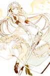 1girl blue_eyes boots closed_mouth dress energy_wings flower hair_flower hair_ornament long_hair long_sleeves looking_at_viewer maid_headdress moo_alice_moo petals puffy_sleeves rapunzel_(sinoalice) ribbon sidelocks sinoalice smile solo watering_can white_background white_hair wings yellow_flower