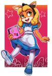 1girl absurdres alice_(wonderland) alice_(wonderland)_(cosplay) alice_in_wonderland alternate_costume alternate_hairstyle animal_ears animal_nose apron black_hairband blonde_hair blue_dress blue_footwear body_fur border bow coco_bandicoot collared_dress commentary computer cosplay crash_bandicoot dress eyeshadow flat_chest frilled_sleeves frills full_body furry gradient gradient_background grass green_eyes hair_bow hairband happy heart highres holding holding_laptop laptop long_hair looking_to_the_side makeup mushroom open_mouth orange_fur outline outside_border pantyhose pink_eyeshadow puffy_short_sleeves puffy_sleeves red_background red_lips shiny shiny_clothes shiny_hair shoes short_sleeves sidelocks smile sneakers solo standing star_(symbol) sticker teeth toasty_scones two-tone_fur white_apron white_border white_fur white_legwear white_outline