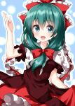1girl :d blue_background blush bow breasts brown_dress cowboy_shot dress frills front_ponytail green_eyes green_hair hair_bow hand_up highres kagiyama_hina long_hair looking_at_viewer medium_breasts open_mouth outline petticoat red_bow ruu_(tksymkw) simple_background smile solo touhou white_outline