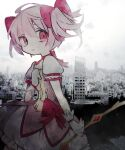 1girl absurdres bow bow_(weapon) bubble_skirt building choker city cityscape dress frilled_dress frills gloves grey_background hair_between_eyes hair_ribbon hand_on_own_chest highres kaname_madoka magical_girl mahou_shoujo_madoka_magica pink_dress pink_eyes pink_hair pink_ribbon ribbon skirt sky soresaki weapon white_gloves
