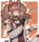 1girl angelina_(arknights) animal_ears arknights bangs birthday black_choker black_gloves black_shirt brown_hair cake cake_slice choker commentary cym23730 food fork fox_ears fox_girl gloves hairband heart highres holding holding_fork holding_plate infection_monitor_(arknights) jacket korean_commentary long_hair long_sleeves open_clothes open_jacket orange_eyes plate red_eyes red_hairband shirt smile solo twintails two-tone_background two-tone_gloves two-tone_hairband upper_body very_long_hair white_background white_gloves white_jacket