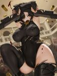 1girl armpits bare_shoulders black_footwear black_hair black_legwear black_leotard black_survival blood breasts covered_navel curvy dual_wielding elbow_sleeve green_eyes gun handgun high_heels holding holding_gun holding_weapon indoors large_breasts leotard letdie1414 mole mole_under_eye rozzi_(black_survival) shell_casing short_hair thigh-highs thighs weapon