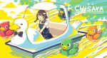 1girl :d bird bow bowtie braid brown_hair clouds dress duck hair_bobbles hair_ornament highres open_mouth original outdoors pinafore_dress smile solo swan_boat twin_braids water yellow_eyes yuzor_a_rancia