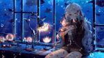 1girl absurdres ahoge animal bandaged_fingers bandaged_hands bandaged_leg bandages bandaid bandaid_on_face bandaid_on_leg bangs bbeedol bear_hair_ornament black_ribbon blue_eyes brown_shirt bruise bubble cowboy_shot doll_hug eyebrows_visible_through_hair glasses hair_ornament hair_ribbon heterochromia highres injury lamp long_hair long_sleeves looking_at_viewer manta_ray original ribbon shirt sitting solo stuffed_animal stuffed_toy teddy_bear underwater very_long_hair violet_eyes white_hair wide_sleeves x_hair_ornament
