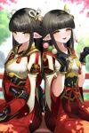 2girls bangs black_hair blush hinoa japanese_clothes kimono long_hair minoto monster_hunter monster_hunter_(series) monster_hunter_rise pointy_ears siblings twins xiaohuaxue