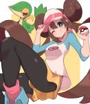1girl ;) absurdres bangs blush bow bright_pupils brown_hair brown_legwear closed_mouth commentary_request double_bun floating_hair gen_5_pokemon green_eyes highres holding holding_poke_ball legwear_under_shorts long_hair looking_at_viewer nuneno one_eye_closed pantyhose pink_bow poke_ball poke_ball_(basic) pokemon pokemon_(creature) pokemon_(game) pokemon_bw2 raglan_sleeves rosa_(pokemon) shirt shoes short_shorts shorts smile sneakers snivy starter_pokemon twintails very_long_hair visor_cap white_pupils yellow_shorts