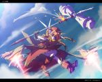 armor blue_eyes boots braid cartridge casing_ejection cloud dress flying frills gloves graf_eisen hammer hat huge_weapon long_hair mahou_shoujo_lyrical_nanoha mahou_shoujo_lyrical_nanoha_a's mahou_shoujo_lyrical_nanoha_a's nekomamire orange_hair red_dress shell_casing sky solo twin_braids vita weapon