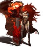 breasts cleavage error fire flames huge_sword huge_weapon mugon no_lineart original red_eyes red_hair redhead sword weapon