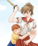emiya_shirou fate/stay_night fate_(series) fujimura_taiga hug kendo lowres ponytail school_uniform shinai sword weapon young