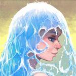 1girl akairiot blue_eyes blue_hair highres kelda_(akairiot) liquid_hair original portrait profile smile solo water yellow_background