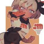 1girl bangs bea_(pokemon) black_bodysuit black_hairband blonde_hair bodysuit bodysuit_under_clothes bow_hairband clenched_hand collared_shirt commentary_request covered_navel dark_skin dark_skinned_female eyelashes fflora gloves grey_eyes gym_leader hair_between_eyes hairband highres korean_commentary looking_at_viewer outline partially_fingerless_gloves pokemon pokemon_(game) pokemon_swsh print_shirt print_shorts shirt short_hair short_sleeves shorts single_glove solo