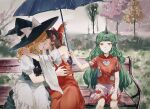 3girls aihara-rina apron aqua_hair bench black_dress blonde_hair blue_bow bow braid brown_hair buttons cherry_blossoms closed_eyes cloud_print curly_hair detached_sleeves dress frilled_bow frilled_dress frills geta grass green_eyes green_hair hair_bow hair_tubes hakurei_reimu hat hat_bow highres horns hug japanese_clothes juliet_sleeves kariyushi_shirt kirisame_marisa kiss komainu komano_aunn long_hair long_sleeves medium_hair miko multiple_girls nontraditional_miko outdoors parasol paw_pose puffy_sleeves rain red_bow red_shirt ribbon_trim shirt short_hair short_sleeves shorts side_braid sidelocks single_braid single_horn skirt skirt_set touhou tree umbrella waist_apron white_bow white_shorts witch_hat wooden_bench yellow_neckwear