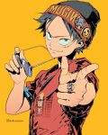 1boy alternate_costume artist_name badge beanie black_eyes black_hair black_headwear buttons clonion clothes_writing commentary ear_piercing earrings english_commentary eyewear_removed foreshortening hat hat_pin highres holding holding_eyewear jewelry jolly_roger looking_at_viewer male_focus monkey_d._luffy one_piece outstretched_arm piercing pointing pointing_at_viewer red_shirt ring sanpaku scar shirt short_hair short_sleeves simple_background skull_and_crossbones smiley_face smirk solo sunglasses symbol_commentary tony_tony_chopper upper_body watermark yellow_background