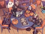 2boys 2girls animal_ears bat_wings belt blazer blonde_hair blue_eyes blue_hair blush board_game book bookshelf boots braid candy cape chair chest_of_drawers closed_eyes cosplay dark_skin dice dog_ears dog_tail dungeons_and_dragons ekko_(league_of_legends) ezreal facial_mark food frankenstein's_monster frankenstein's_monster_(cosplay) fur_collar fur_trim garland_(decoration) gloves goggles goggles_around_neck halloween hat heart holding holding_staff indoors jacket jinx_(league_of_legends) knee_pads league_of_legends leather leather_jacket long_hair long_skirt luxanna_crownguard mohawk multiple_boys multiple_girls pants paw_gloves paw_shoes paws plant playing_games pointy_ears pumpkin sanatorium_industries shirt shoes short_hair sitting skirt smile staff stitches sweatdrop table tail wavy_mouth wings witch witch_hat