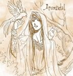 1boy :d bird brown_theme character_name circlet cloak commentary_request dated hand_up hood hood_up hooded_cloak jewelry kazuki-mendou male_focus monochrome necklace one-hour_drawing_challenge open_mouth radagast signature silmarillion smile solo younger
