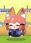 1girl :3 =_= alternate_costume animal_ear_fluff animal_ears blush book casual chibi closed_eyes comiket contemporary eyebrows_visible_through_hair fate/grand_order fate_(series) fox_ears fox_girl fox_tail full_body highres open_mouth pink_hair plover smile solo star_(symbol) tail tamamo_(fate)_(all) tamamo_no_mae_(fate)