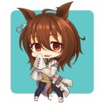 1girl agnes_tachyon_(umamusume) ahoge animal_ears bangs black_legwear black_neckwear black_shirt blue_background blush brown_hair chibi collared_shirt commentary_request ear_piercing eyebrows_visible_through_hair full_body hair_between_eyes horse_ears horse_girl horse_tail labcoat long_hair long_sleeves looking_at_viewer open_clothes pantyhose parted_lips piercing red_eyes shachoo. shirt shoes sleeves_past_fingers sleeves_past_wrists solo sweater_vest tail thick_eyebrows two-tone_background umamusume white_background white_footwear