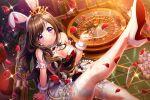 blush brown_hair bunnysuit d4dj long_hair mizushima_marika smile violet_eyes