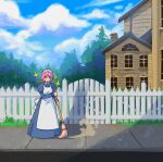 1girl akairiot apron blue_sky broom building closed_eyes clouds cloudy_sky day dress fence gate grey_dress highres holding holding_broom juliet_sleeves long_sleeves maid maid_apron maid_headdress original outdoors pink_hair puffy_sleeves short_hair sky smile solo sparkle standing tree white_apron wide_shot window