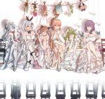 6+girls blonde_hair blue_hair blush calico_m950 dress five-seven_(girls_frontline) five-seven_(gun) frown girls_frontline green_hair gun handgun high_heels highres light_brown_hair m950a_(girls_frontline) mk23_(girls_frontline) mk_23_pistol multiple_girls ots-14 ots-14_(girls_frontline) purple_hair rabb_horn reflection silver_hair sitting smile weapon wedding_dress zas_m21_(girls_frontline) zastava_m21 zb-26_(girls_frontline) zb_26