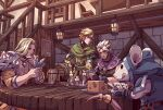 3boys armor bar barrel belt blonde_hair blush braid candle capelet card cheese cup earrings ezreal fingerless_gloves food gambling gloves hand_on_own_face holding holding_card hood hood_up indoors jewelry lantern league_of_legends long_hair male_focus mouse multiple_boys necklace pauldrons playing_card playing_games rat sanatorium_industries shirt short_hair shoulder_armor sitting stairs sweatdrop table tankard taric tongue tongue_out undercut white_hair window
