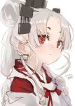 1girl albino alternate_eye_color alternate_hair_color blush closed_mouth dated japanese_clothes kantai_collection long_hair nisshin_(kancolle) portrait red_eyes signature simple_background solo toka_(marchlizard) very_long_hair white_background white_hair