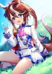 1girl 40_(0f0urw) :d absurdres animal_ears ascot bangs black_gloves blue_eyes blush bow brown_hair commentary_request day epaulettes eyebrows_visible_through_hair gloves grass hair_between_eyes hair_bow highres horse_ears horse_girl horse_tail jacket long_hair long_sleeves miniskirt mismatched_gloves multicolored_hair open_mouth pink_bow pink_neckwear pleated_skirt ponytail single_epaulette sitting skirt sky smile solo streaked_hair tail tail_raised thighs tokai_teio_(umamusume) two-tone_hair umamusume white_gloves white_hair white_jacket white_skirt