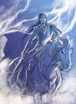1boy blue_theme boots cape fingolfin holding holding_sword holding_weapon horse horseback_riding kazuki-mendou lightning looking_at_viewer male_focus monochrome one-hour_drawing_challenge parted_lips riding silmarillion solo sword weapon