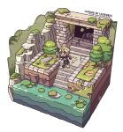 1boy blonde_hair blue_eyes blush boots bug chibi english_text ezreal fingerless_gloves gloves goggles goggles_around_neck grass isometric jacket knee_pads league_of_legends lily_pad male_focus moss open_mouth outdoors pants plant river rock running sanatorium_industries short_hair sleeves_rolled_up smile solo spider stairs tree