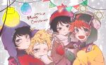 4boys beanie black_hair blonde_hair blue_eyes blue_jacket brown_jacket christmas_lights chullo craig_tucker cup fur_hat green_eyes hat holding holding_cup hot_chocolate jacket kyle_broflovski messy_hair multiple_boys orange_jacket redhead scarf short_hair smile south_park stan_marsh tweek_tweak ushanka