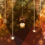 1girl black_bow black_shirt blonde_hair blush_stickers bow brown_background brown_dress bug chibi dress full_body hair_bow highres kurodani_yamame long_sleeves mayuno_kiito open_mouth shirt short_hair signature silk smile spider spider_web star_(symbol) touhou upside-down yellow_eyes