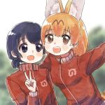 2girls alternate_costume animal_ears black_hair blonde_hair blue_eyes extra_ears eyebrows_visible_through_hair fang jacket japari_symbol kaban_(kemono_friends) kemono_friends multiple_girls no_hat no_headwear open_mouth red_track_suit san_sami serval_(kemono_friends) serval_ears serval_girl serval_tail short_hair tail track_jacket track_suit turtleneck v yellow_eyes