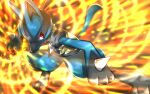 commentary energy gen_4_pokemon hikarikmy leaning_forward legs_apart lucario pokemon pokemon_(creature) red_eyes solo spikes squatting toes yellow_fur