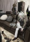 2girls absurdres akatone amiya_(arknights) animal_ears arknights black_shorts brown_hair cellphone couch green_eyes grey_hair highres holding holding_phone huge_filesize indoors kal'tsit_(arknights) long_hair multiple_girls pants pen phone pillow rabbit_ears shorts sitting slippers smartphone white_pants