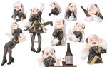 1girl absurdres ak-alfa ak-alfa_(girls_frontline) alcohol arm_up assault_rifle bangs beer beer_bottle black_dress black_footwear brown_eyes brown_legwear closed_eyes commentary_request crying dress full_body gas_mask girls_frontline gun high_heels highres long_hair long_sleeves looking_at_viewer mary_janes multiple_views object_hug pantyhose rifle rui_(rei_leyi) shoes silver_hair sitting standing thick_eyebrows upper_body very_long_hair waving weapon weapon_on_back